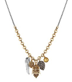 Lucky Brand® Two Tone Owl Charm Necklace