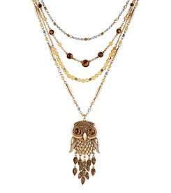 Lucky Brand® Two Tone Owl Statement Layered Necklace