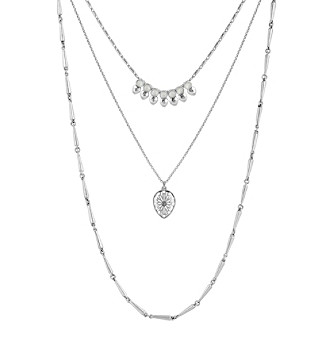 Lucky Brand® Silvertone And Moonstone Lucky Layer Necklace