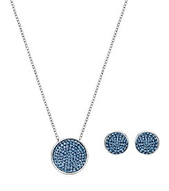 Swarovski® Silvertone Fun Blue Crystal Pendant And Earring Set
