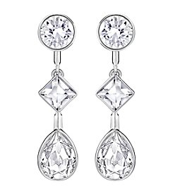 Swarovski® Silvertone Folk Linear Earrings