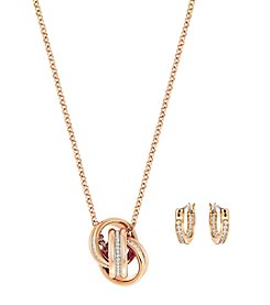 Swarovski® Rose Goldtone Further Pendant Necklace And Earrings Set