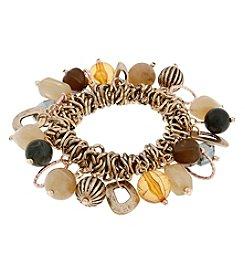 Erica Lyons® Goldtone Straight Up Olive Shaky Stretch Bracelet