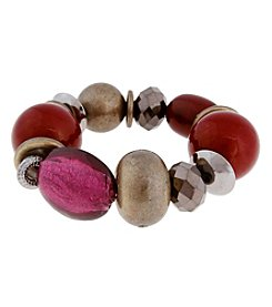 Erica Lyons® Two Tone You Had Me At Merlot Large Bead Stretch Bracelet