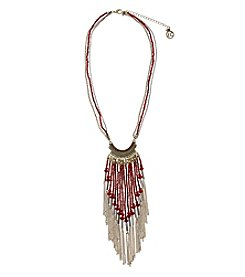 Erica Lyons® Two Tone You Had Me At Merlot Long Fringe Front Necklace