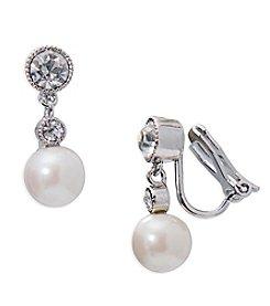 Lauren Ralph Lauren Silvertone Social Set Double Drop Clip On Earrings