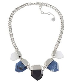 French Connection® Silvertone 5 Stone Faceted With Endcap Frontal Necklace