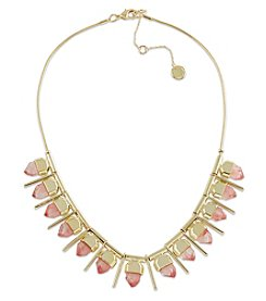 French Connection® Goldtone Mini Faceted Stone With Endcap And Tube Frontal Necklace