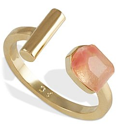 French Connection® Goldtone Mini Faceted Stone And Tube Open Ring