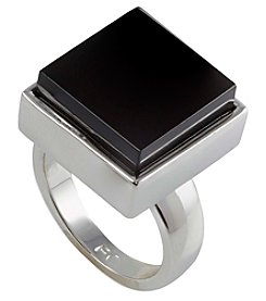 French Connection® Silvertone Square Stone Cocktail Ring