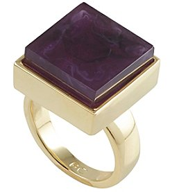 French Connection® Goldtone Square Stone Cocktail Ring