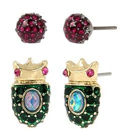 Betsey Johnson® Goldtone Beetle & Faceted Duo Stud Earrings Set