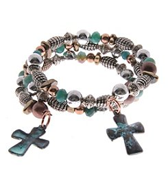 L&J Accessories Tri Tone Cross Coil Bracelet