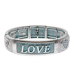 L&J Accessories Silvertone Patina Love Stretch Bracelet