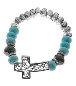 L&J Accessories Silvertone Turquoise Cross Stretch Bracelet