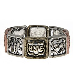 L&J Accessories Tri Tone Metal Faith Hope Love Stretch Bracelet