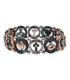 L&J Accessories Patina Tri Tone Metal Cross Stretch Bracelet