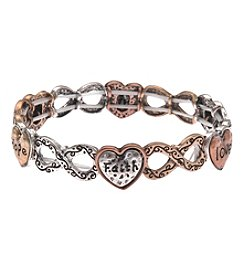 L&J Accessories Tri Tone Love Hope Stretch Bracelet