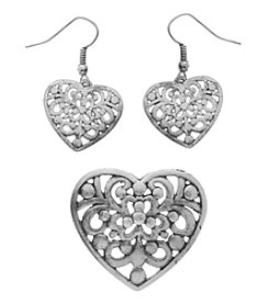 L&J Accessories Silvertone Heart Enhancer And Earrings Set