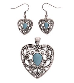 L&J Accessories Silvertone Turquoise Heart Enhancer And Earrings Set
