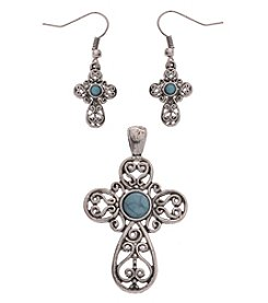 L&J Accessories Silvertone Turquoise Cross Enhancer And Earrings Set