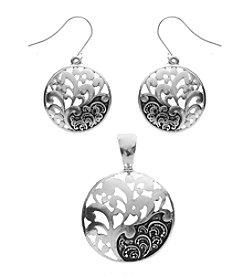 L&J Accessories Silvertone Tree Of Life Enhancer And Earrings Set