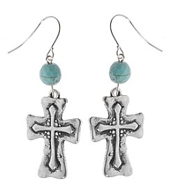 L&J Accessories Silvertone Cross Drop Earrings