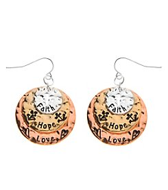 L&J Accessories Tri Tone Disc Faith Hope Love Earrings