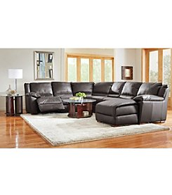 Natuzzi Editions® Genoa Brown Leather 4-Piece Reclining Sectional