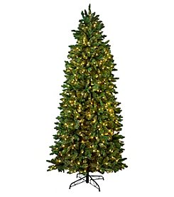 LivingQuarters Red & Gold 8.5' Artificial Prelit Pine