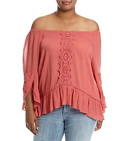 Democracy Plus Size Off Shoulder Flounce Top
