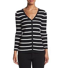 August Silk® Stripe V-Neck Cardigan