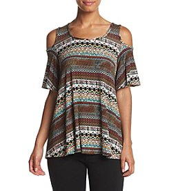 Bobeau Multi Print Cold Shoulder Top