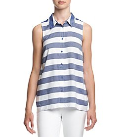Kensie® Striped Button Up Tank