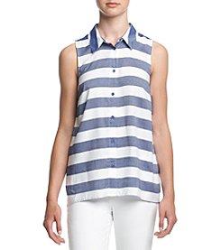 Kensie® Striped Button Up Tank