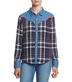 Hippie Laundry Plaid Top With Denim Detail