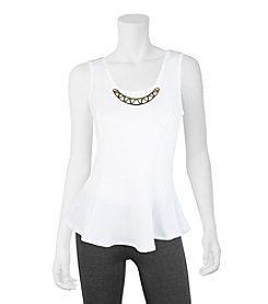 A. Byer Textured Peplum Top With Necklace
