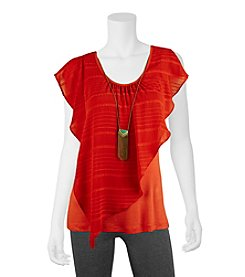 A. Byer Asymmetrical Overlay Top With Necklace