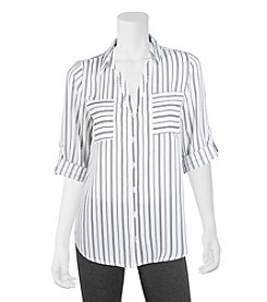 A. Byer Striped Button Down Utility Top