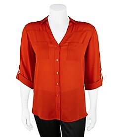 A. Byer Plus Size Button Down Utility Top