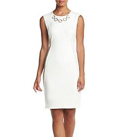 Calvin Klein Ponte Goldtone Necklace Sheath Dress