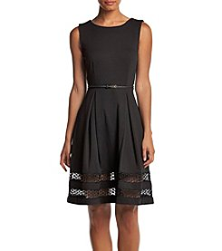 Calvin Klein Fit And Flare Sheer Hem Dress