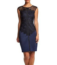 Sangria™ Illusion Lace Overlay Sheath Dress
