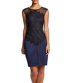 Sangria™ Illusion Lace Overlay Sheath Dress
