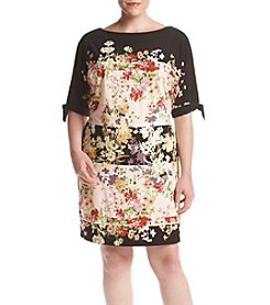 Julian Taylor Plus Size Cold Shoulder Floral Shift Dress