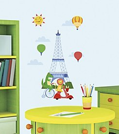 RoomMates Animals in Paris Peel & Stick Giant Wall Decals