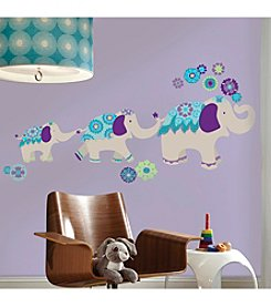 RoomMates Waverly Teal & Purple Elephant Mega Peel & Stick Giant Wall Decals