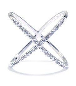 Athra Silver-Plated Crisscross Cubic Zirconia Ring