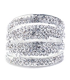 Athra Silver-Plated Multi-Row Crystal Ring
