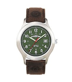 Timex® Men's Expedition Metal Field Olive Dial Brown Leather Strap Watch